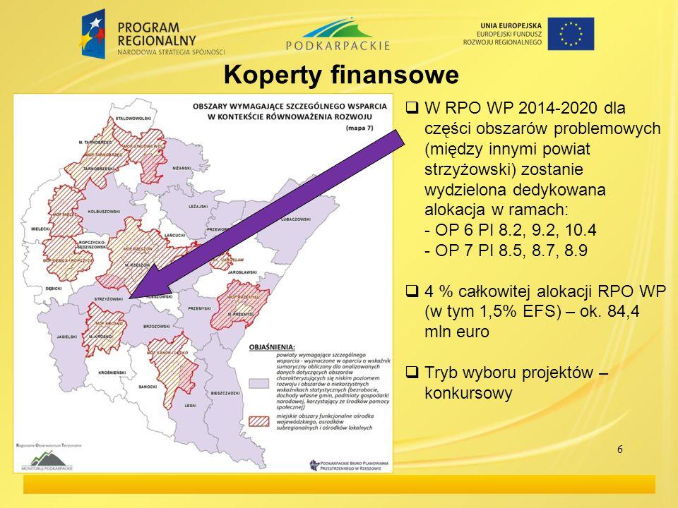 6  W RPO WP 2014-2020 dla części obszarów problemowych (między innymi powiat strzyżowski) zostanie wydzielona dedykowana alokacja w ramach: - OP 6 PI