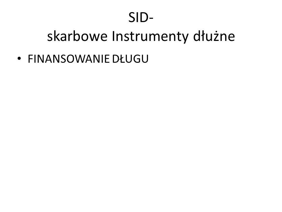 SID- skarbowe Instrumenty dłużne FINANSOWANIE DŁUGU