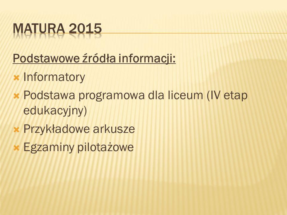 Podstawowe źródła informacji:  Informatory  Podstawa programowa dla liceum (IV etap edukacyjny)  Przykładowe arkusze  Egzaminy pilotażowe