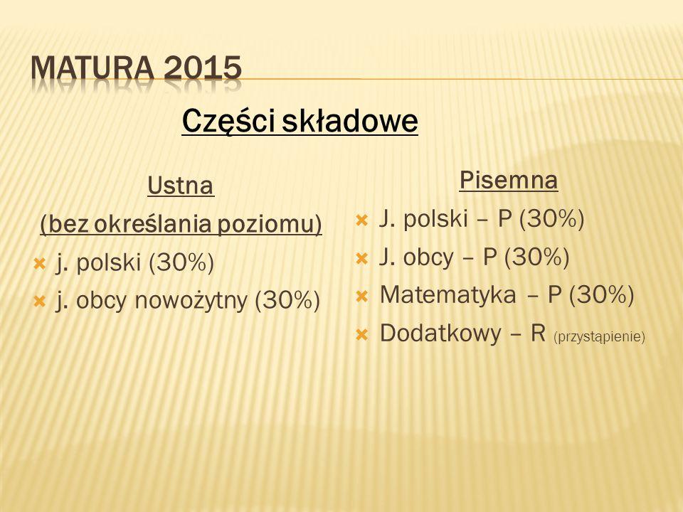 Ustna (bez określania poziomu)  j. polski (30%)  j. obcy nowożytny (30%) Pisemna  J. polski – P (30%)  J. obcy – P (30%)  Matematyka – P (30%) 