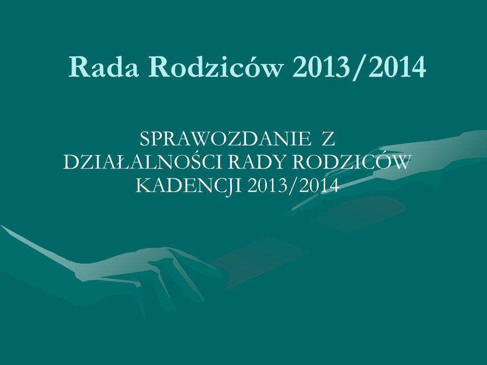 Rada Rodziców 2013/2014 SPRAWOZDANIE Z DZIAŁALNOŚCI RADY RODZICÓW KADENCJI 2013/2014