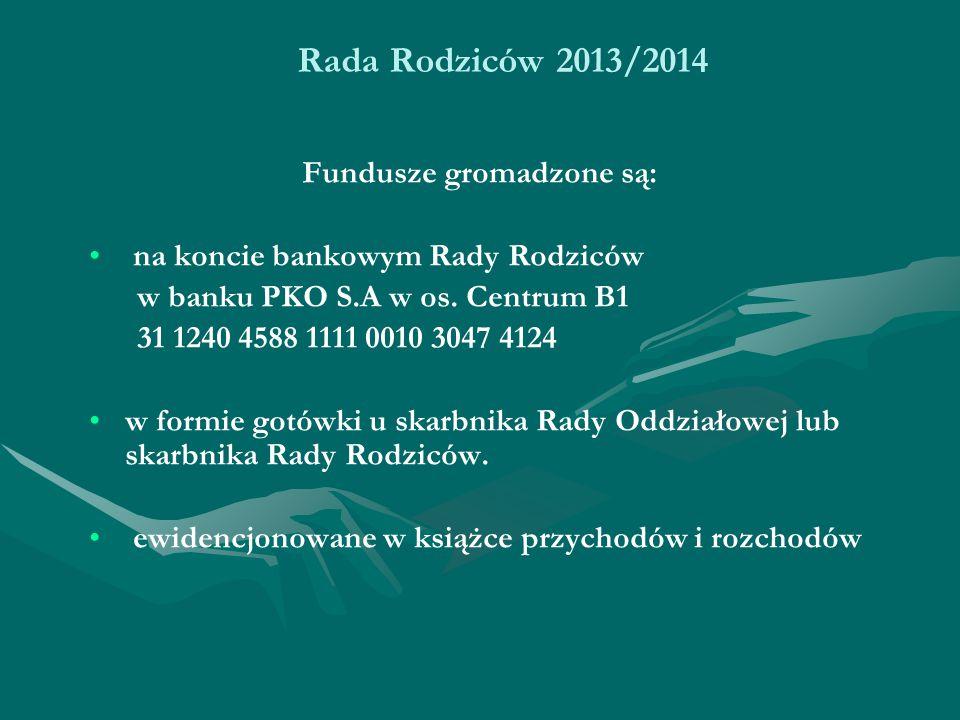 Rada Rodziców 2013/2014 Fundusze gromadzone są: na koncie bankowym Rady Rodziców w banku PKO S.A w os.