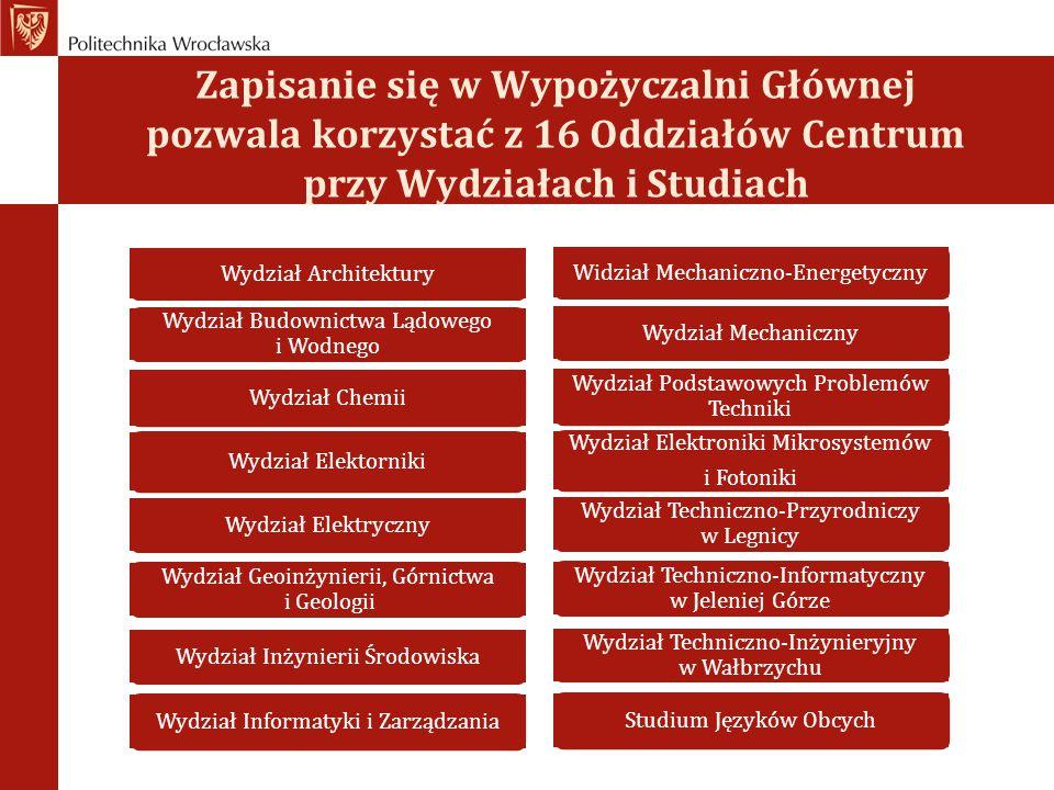 Zapisanie się w Wypożyczalni Głównej pozwala korzystać z 16 Oddziałów Centrum przy Wydziałach i Studiach Wydział Architektury Wydział Budownictwa Lądo