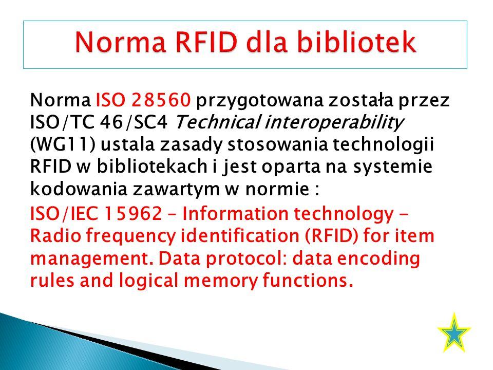 Norma ISO 28560 przygotowana została przez ISO/TC 46/SC4 Technical interoperability (WG11) ustala zasady stosowania technologii RFID w bibliotekach i jest oparta na systemie kodowania zawartym w normie : ISO/IEC 15962 – Information technology - Radio frequency identification (RFID) for item management.