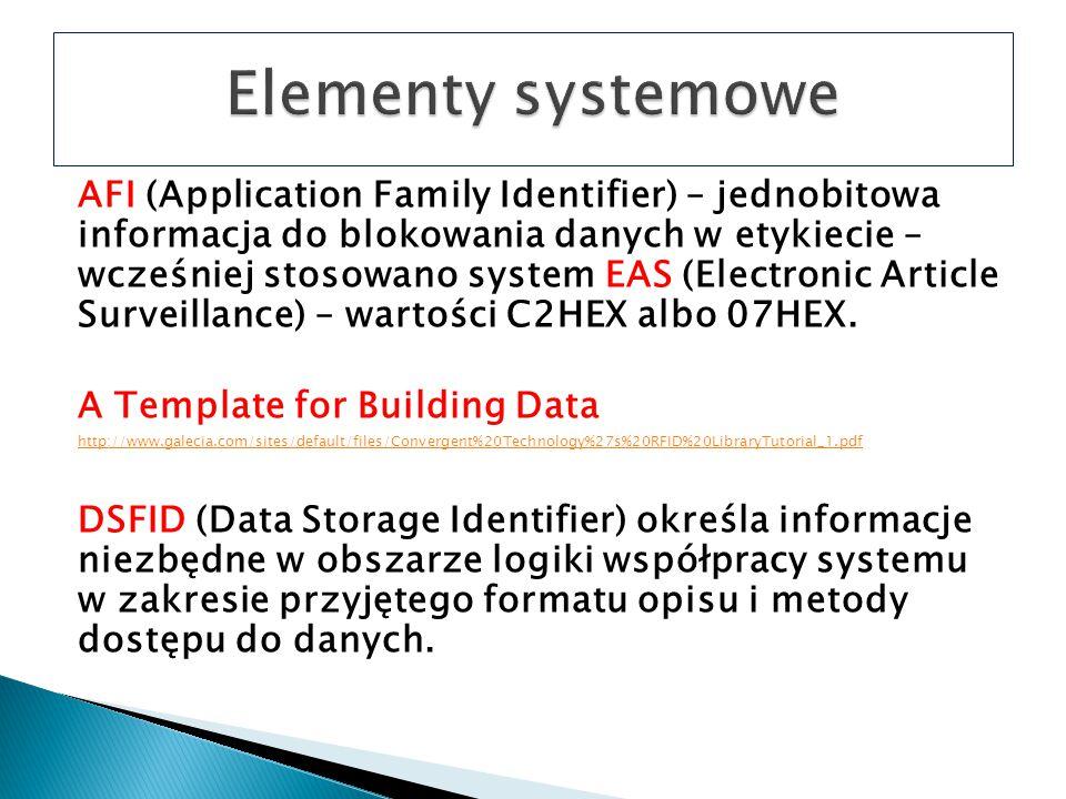 AFI (Application Family Identifier) – jednobitowa informacja do blokowania danych w etykiecie – wcześniej stosowano system EAS (Electronic Article Surveillance) – wartości C2HEX albo 07HEX.