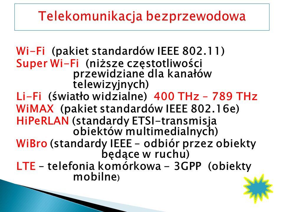 Wi-Fi (pakiet standardów IEEE 802.11) Super Wi-Fi (niższe częstotliwości przewidziane dla kanałów telewizyjnych) Li-Fi (światło widzialne) 400 THz – 789 THz WiMAX (pakiet standardów IEEE 802.16e) HiPeRLAN (standardy ETSI-transmisja obiektów multimedialnych) WiBro (standardy IEEE – odbiór przez obiekty będące w ruchu) LTE – telefonia komórkowa - 3GPP (obiekty mobilne )