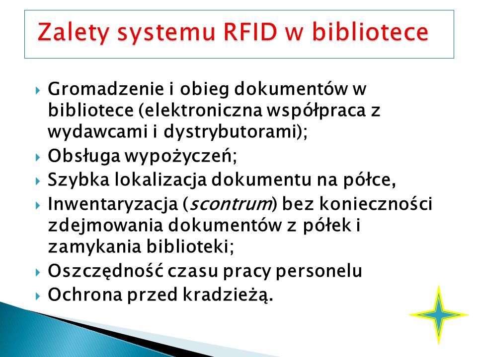  Gromadzenie i obieg dokumentów w bibliotece (elektroniczna współpraca z wydawcami i dystrybutorami);  Obsługa wypożyczeń;  Szybka lokalizacja dokumentu na półce,  Inwentaryzacja (scontrum) bez konieczności zdejmowania dokumentów z półek i zamykania biblioteki;  Oszczędność czasu pracy personelu  Ochrona przed kradzieżą.
