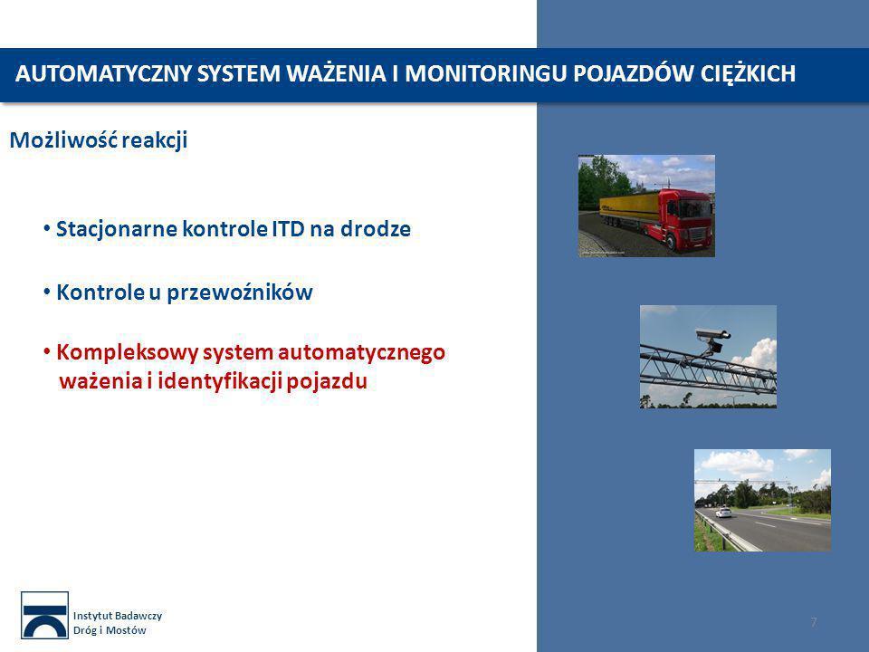 Instytut Badawczy Dróg i Mostów 7 Możliwość reakcji Kompleksowy system automatycznego ważenia i identyfikacji pojazdu Kontrole u przewoźników Stacjona