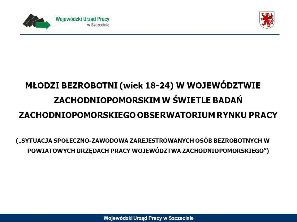 Wojewódzki Urząd Pracy w Szczecinie Na podstawie: SYTUACJA SPOŁECZNO-ZAWODOWA ZAREJESTROWANYCH OSÓB BEZROBOTNYCH W POWIATOWYCH URZĘDACH PRACY WOJEWÓDZTWA ZACHODNIOPOMORSKIEGO, WUP Szczecin, 2013 rok