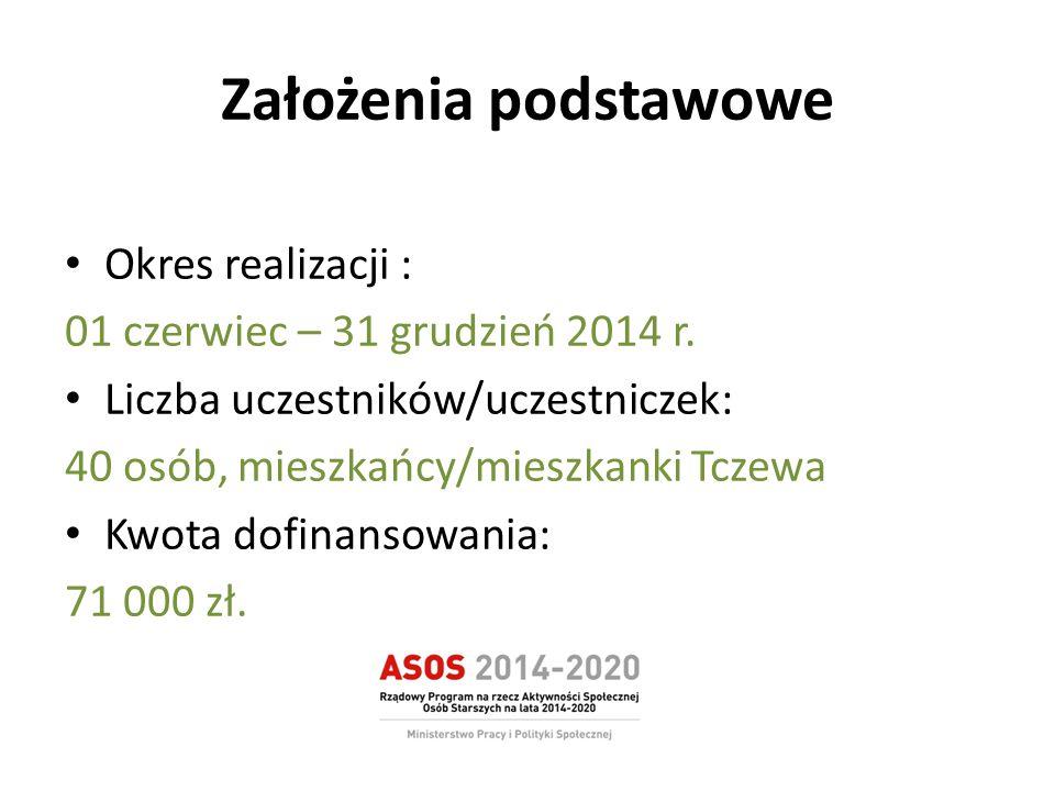 Założenia podstawowe Okres realizacji : 01 czerwiec – 31 grudzień 2014 r. Liczba uczestników/uczestniczek: 40 osób, mieszkańcy/mieszkanki Tczewa Kwota