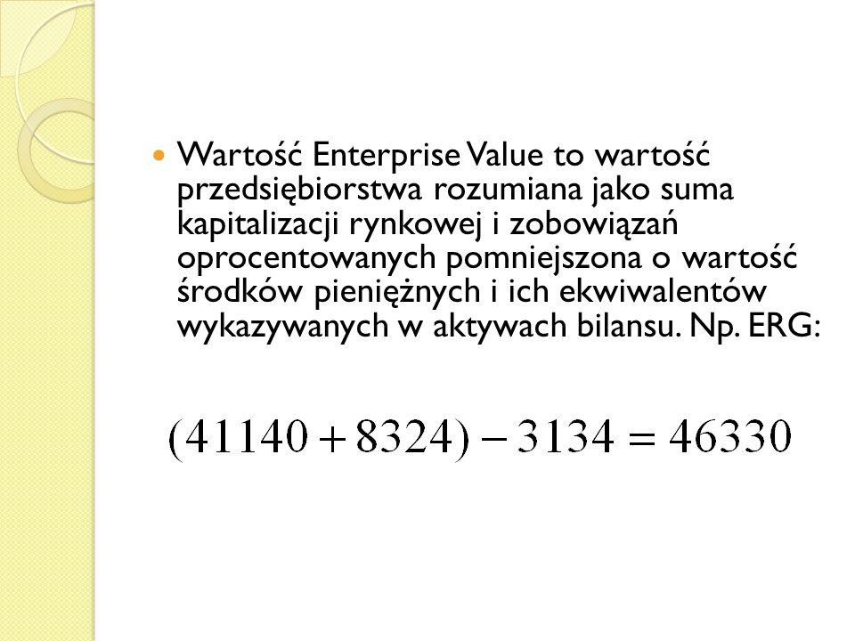 Wartość Enterprise Value to wartość przedsiębiorstwa rozumiana jako suma kapitalizacji rynkowej i zobowiązań oprocentowanych pomniejszona o wartość środków pieniężnych i ich ekwiwalentów wykazywanych w aktywach bilansu.