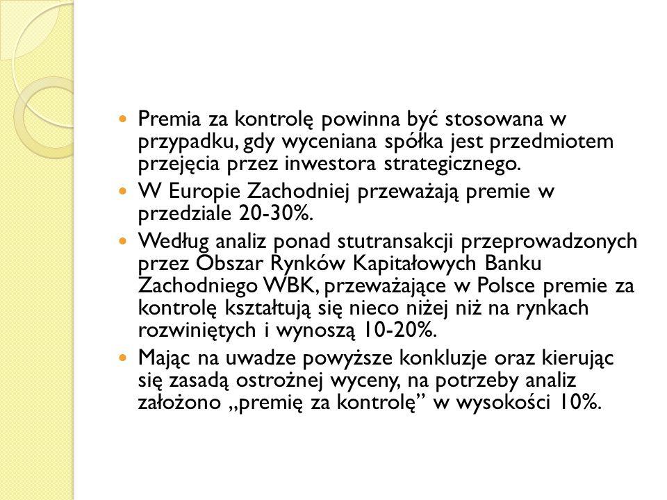 Premia za kontrolę powinna być stosowana w przypadku, gdy wyceniana spółka jest przedmiotem przejęcia przez inwestora strategicznego.