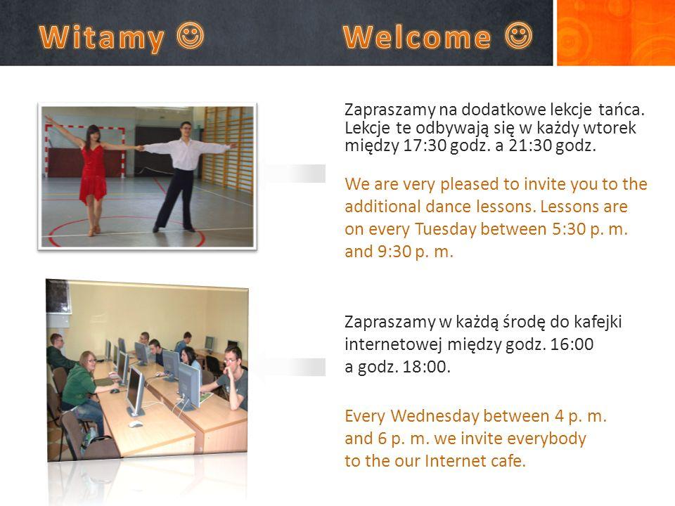 Zapraszamy na dodatkowe lekcje tańca. Lekcje te odbywają się w każdy wtorek między 17:30 godz.