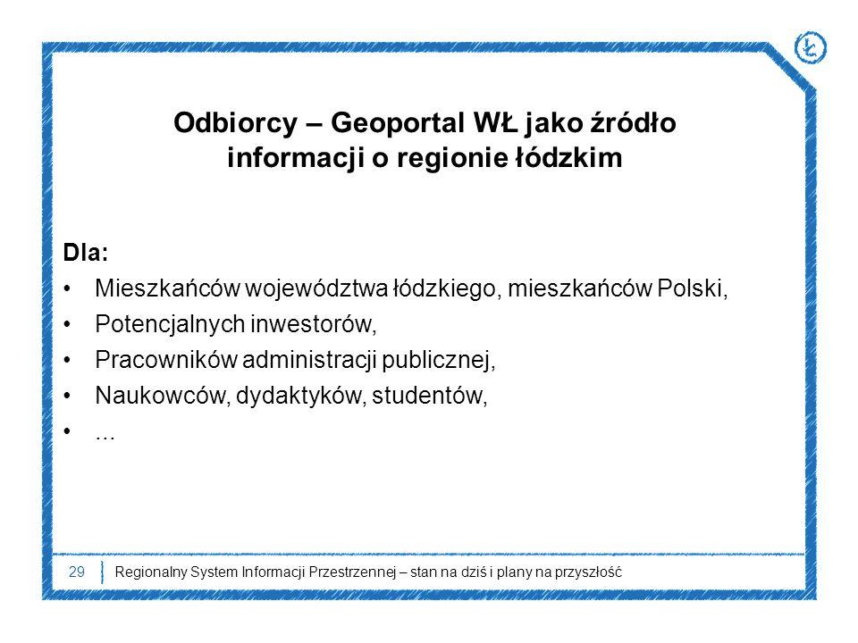 29Regionalny System Informacji Przestrzennej – stan na dziś i plany na przyszłość Odbiorcy – Geoportal WŁ jako źródło informacji o regionie łódzkim Dl