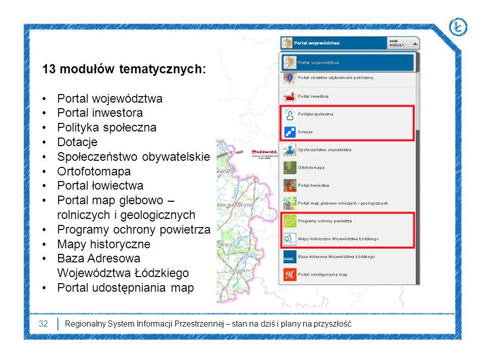 32 13 modułów tematycznych: Portal województwa Portal inwestora Polityka społeczna Dotacje Społeczeństwo obywatelskie Ortofotomapa Portal łowiectwa Po