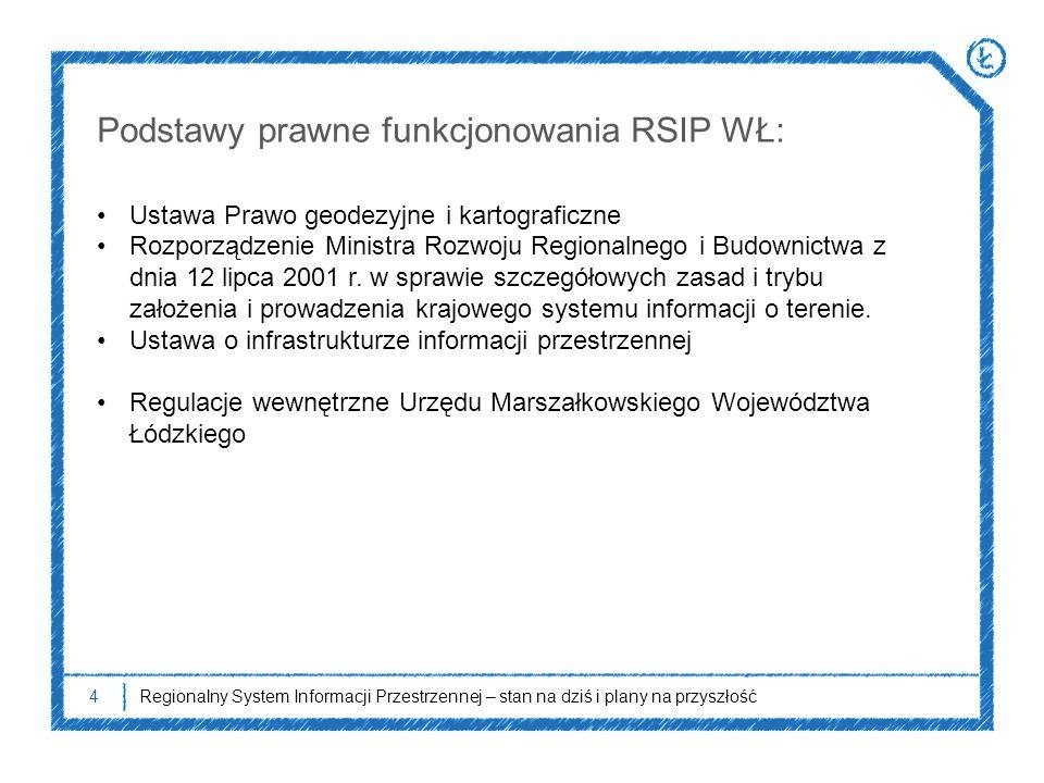 4 Podstawy prawne funkcjonowania RSIP WŁ: Ustawa Prawo geodezyjne i kartograficzne Rozporządzenie Ministra Rozwoju Regionalnego i Budownictwa z dnia 1