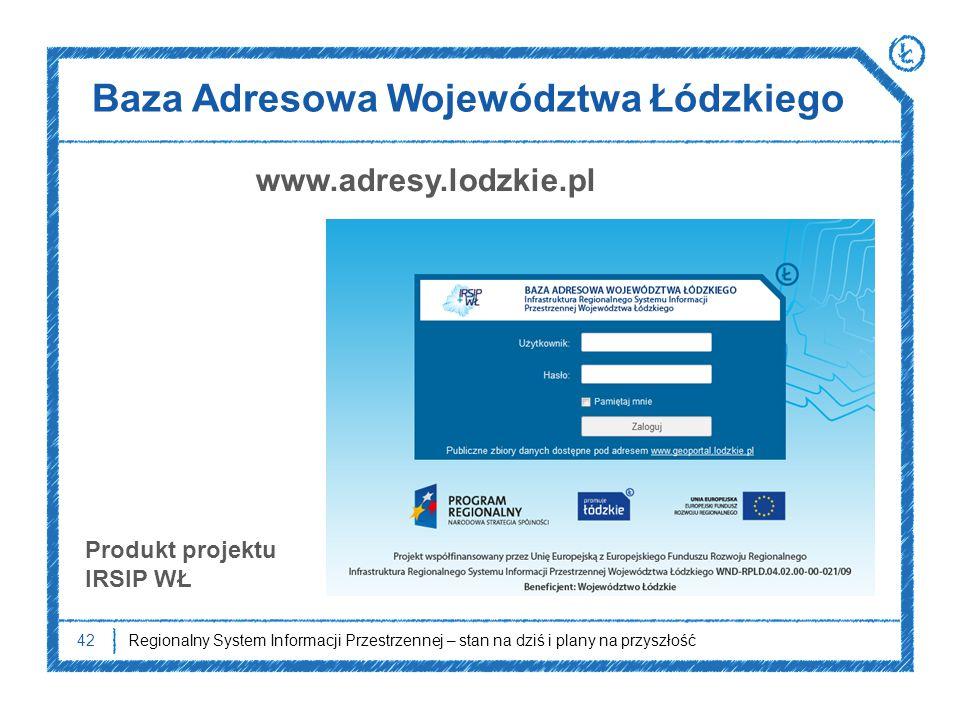 Baza Adresowa Województwa Łódzkiego 42Regionalny System Informacji Przestrzennej – stan na dziś i plany na przyszłość Produkt projektu IRSIP WŁ www.ad
