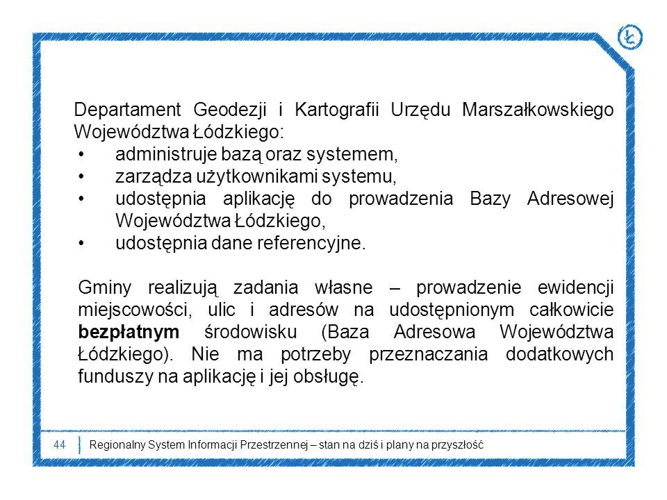 44Regionalny System Informacji Przestrzennej – stan na dziś i plany na przyszłość Departament Geodezji i Kartografii Urzędu Marszałkowskiego Województ