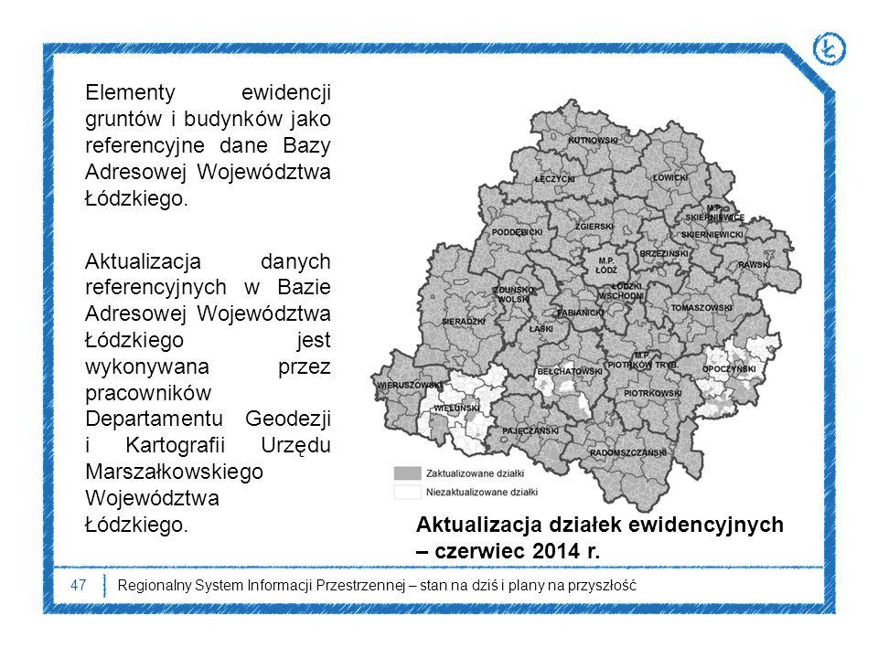 47Regionalny System Informacji Przestrzennej – stan na dziś i plany na przyszłość Elementy ewidencji gruntów i budynków jako referencyjne dane Bazy Ad