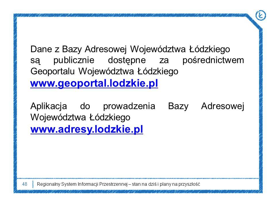 48Regionalny System Informacji Przestrzennej – stan na dziś i plany na przyszłość Dane z Bazy Adresowej Województwa Łódzkiego są publicznie dostępne z