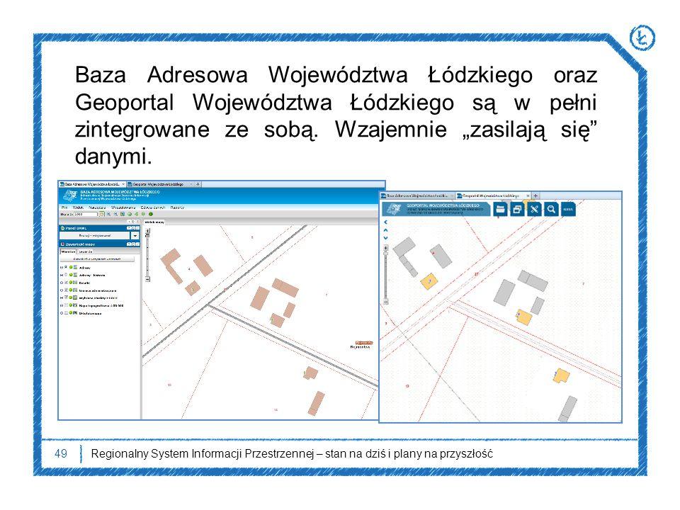 49Regionalny System Informacji Przestrzennej – stan na dziś i plany na przyszłość Baza Adresowa Województwa Łódzkiego oraz Geoportal Województwa Łódzk