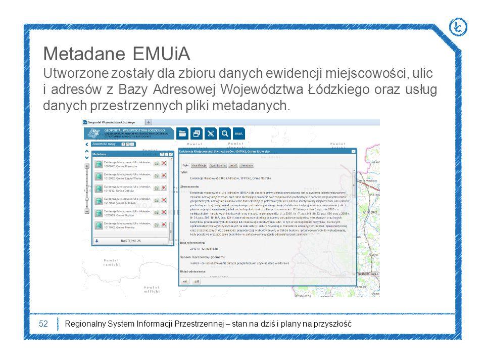 52Regionalny System Informacji Przestrzennej – stan na dziś i plany na przyszłość Metadane EMUiA Utworzone zostały dla zbioru danych ewidencji miejsco