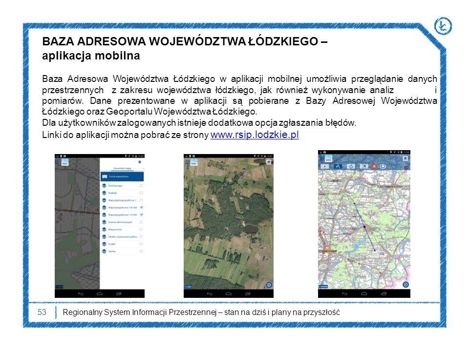 53Regionalny System Informacji Przestrzennej – stan na dziś i plany na przyszłość Baza Adresowa Województwa Łódzkiego w aplikacji mobilnej umożliwia p