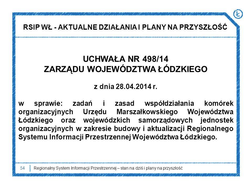 54 UCHWAŁA NR 498/14 ZARZĄDU WOJEWÓDZTWA ŁÓDZKIEGO z dnia 28.04.2014 r. w sprawie: zadań i zasad współdziałania komórek organizacyjnych Urzędu Marszał