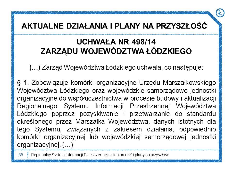55 UCHWAŁA NR 498/14 ZARZĄDU WOJEWÓDZTWA ŁÓDZKIEGO (…) Zarząd Województwa Łódzkiego uchwala, co następuje: § 1. Zobowiązuje komórki organizacyjne Urzę