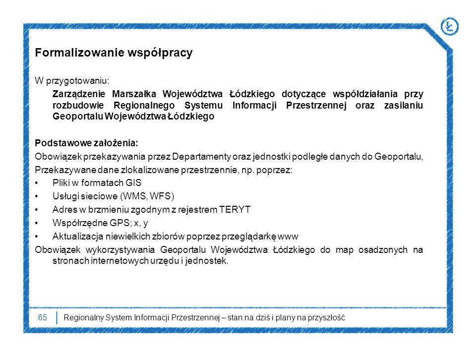 65Regionalny System Informacji Przestrzennej – stan na dziś i plany na przyszłość Formalizowanie współpracy W przygotowaniu: Zarządzenie Marszałka Woj