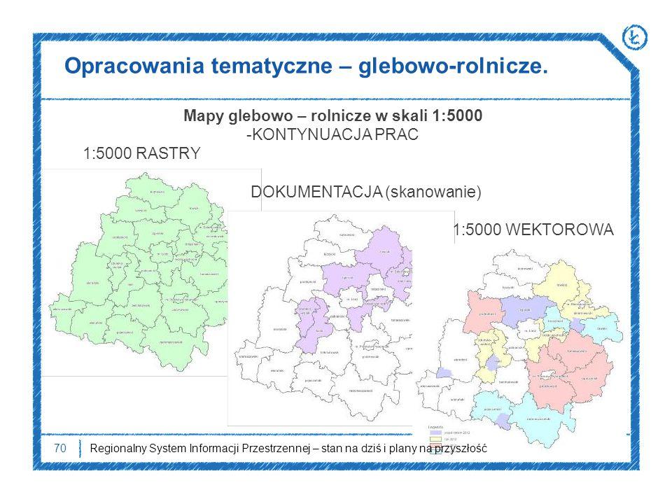 Opracowania tematyczne – glebowo-rolnicze. 70 Mapy glebowo – rolnicze w skali 1:5000 -KONTYNUACJA PRAC 1:5000 RASTRY DOKUMENTACJA (skanowanie) 1:5000