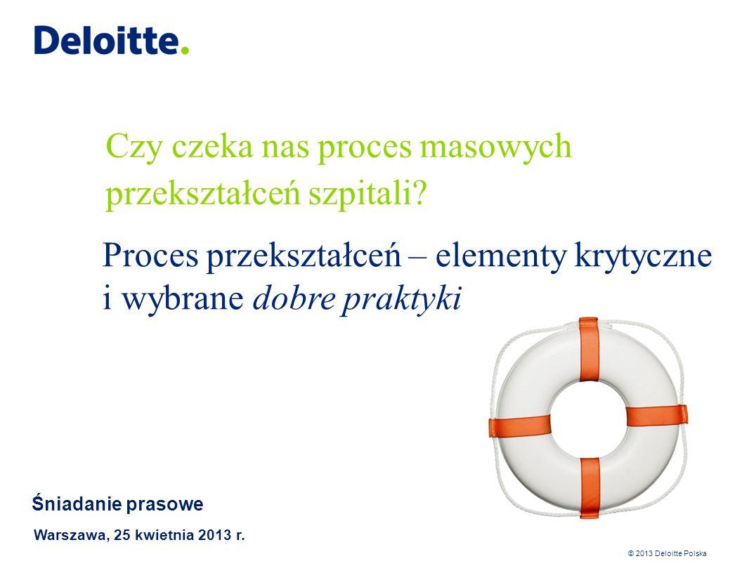 © 2013 Deloitte Polska Restrukturyzacja jest kluczowym elementem przekształcenia – trzeba się do niej przygotować 12 Przykład podejścia do restrukturyzacji szpitala Redukcja/restrukturyzacja zadłużenia Ścisłe planowanie przepływów pieniężnych Bieżąca kontrola każdej płatności Nacisk na ściąganie wszystkich należności (w tym należności za nadwykonania) Zbycie niepotrzebnych zapasów Renegocjacja umów z dostawcami i odbiorcami oraz ścisła kontrola nowych umów i zamówień Wzmocnienie kontroli nad poza-podstawowymi składnikami płac Przemyślenie wykorzystania lokalizacji Redukcja personelu nie-medycznego Analiza i obserwacja rentowności usług Renegocjacja kontraktu z NFZ oraz zwiększenie nowego kontraktu Wewnętrzna reorganizacja szpitala Zwiększanie efektywności personelu medycznego oraz infrastruktury medycznej Outsourcing wybranych funkcji (np.