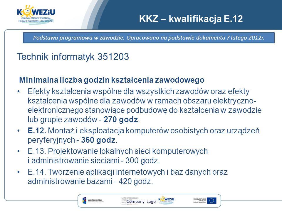 KKZ – kwalifikacja E.12 Technik informatyk 351203 Minimalna liczba godzin kształcenia zawodowego Efekty kształcenia wspólne dla wszystkich zawodów ora