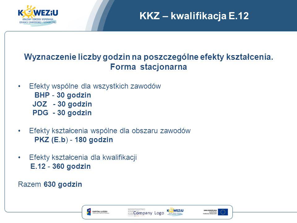 KKZ – kwalifikacja E.12 Wyznaczenie liczby godzin na poszczególne efekty kształcenia. Forma stacjonarna Efekty wspólne dla wszystkich zawodów BHP - 30