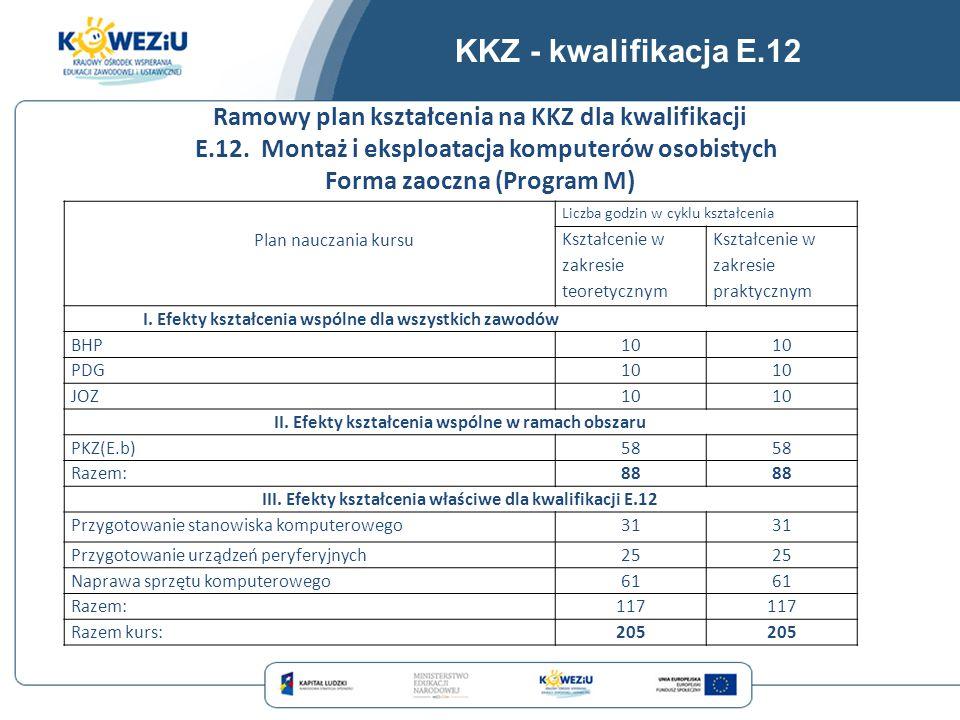 KKZ - kwalifikacja E.12 Plan nauczania kursu Liczba godzin w cyklu kształcenia Kształcenie w zakresie teoretycznym Kształcenie w zakresie praktycznym
