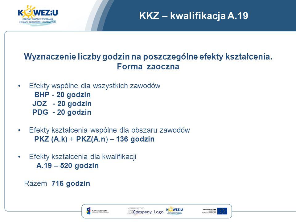 KKZ – kwalifikacja A.19 Wyznaczenie liczby godzin na poszczególne efekty kształcenia. Forma zaoczna Efekty wspólne dla wszystkich zawodów BHP - 20 god