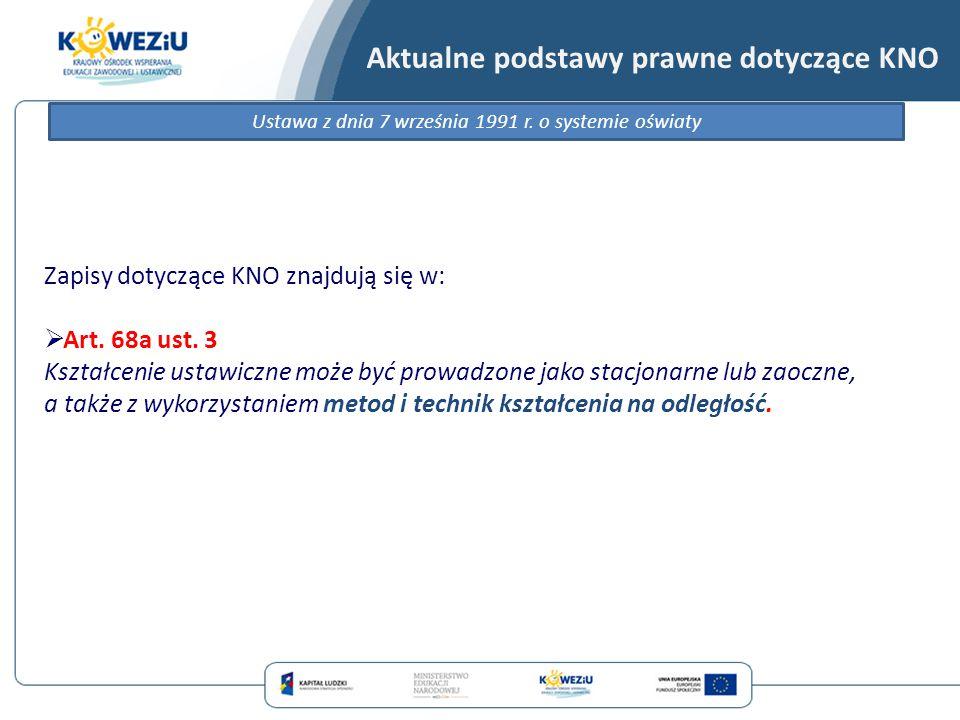 Aktualne podstawy prawne dotyczące KNO Ustawa z dnia 7 września 1991 r. o systemie oświaty Zapisy dotyczące KNO znajdują się w:  Art. 68a ust. 3 Kszt