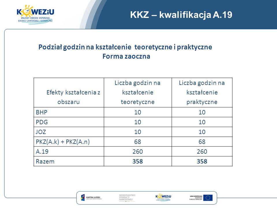 KKZ – kwalifikacja A.19 Efekty kształcenia z obszaru Liczba godzin na kształcenie teoretyczne Liczba godzin na kształcenie praktyczne BHP10 PDG10 JOZ1