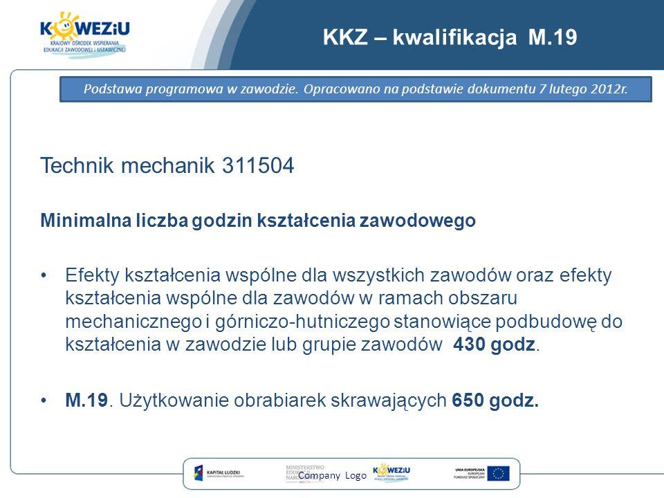 KKZ – kwalifikacja M.19 Technik mechanik 311504 Minimalna liczba godzin kształcenia zawodowego Efekty kształcenia wspólne dla wszystkich zawodów oraz