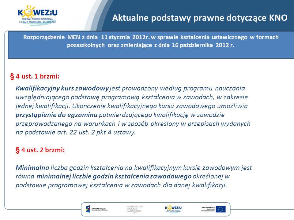 § 4 ust. 1 brzmi: Rozporządzenie MEN z dnia 11 stycznia 2012r. w sprawie kształcenia ustawicznego w formach pozaszkolnych oraz zmieniające z dnia 16 p