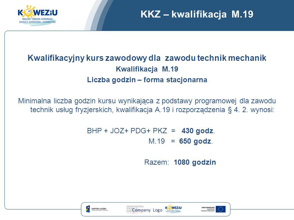 KKZ – kwalifikacja M.19 Kwalifikacyjny kurs zawodowy dla zawodu technik mechanik Kwalifikacja M.19 Liczba godzin – forma stacjonarna Minimalna liczba