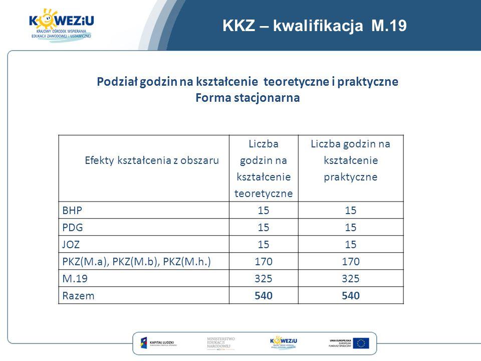 KKZ – kwalifikacja M.19 Efekty kształcenia z obszaru Liczba godzin na kształcenie teoretyczne Liczba godzin na kształcenie praktyczne BHP15 PDG15 JOZ1