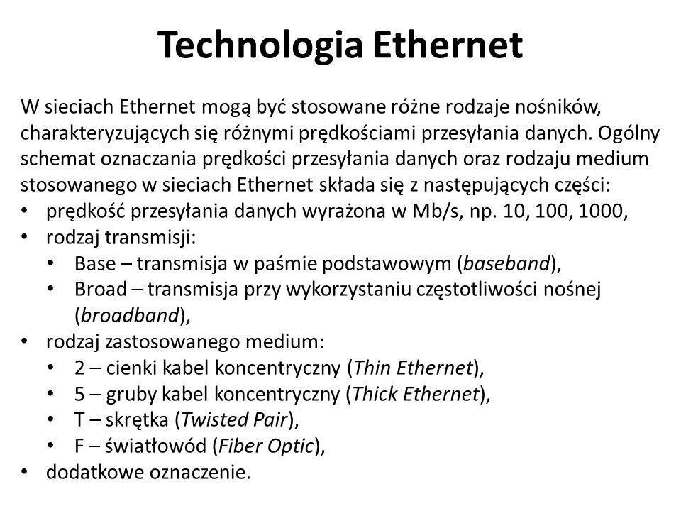 Technologia Ethernet W sieciach Ethernet mogą być stosowane różne rodzaje nośników, charakteryzujących się różnymi prędkościami przesyłania danych.