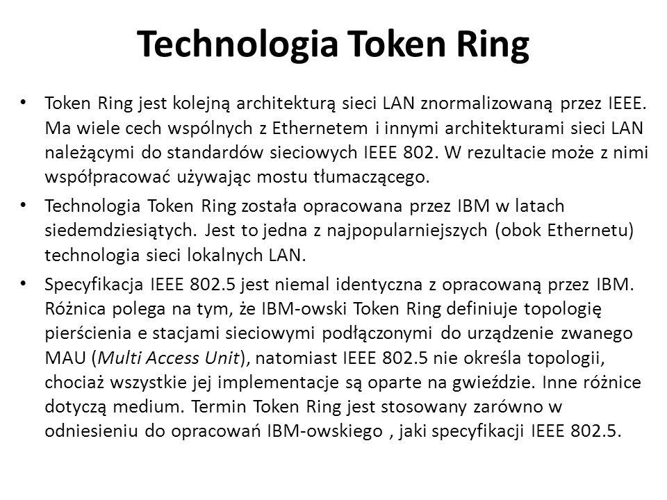 Technologia Token Ring Token Ring jest kolejną architekturą sieci LAN znormalizowaną przez IEEE. Ma wiele cech wspólnych z Ethernetem i innymi archite