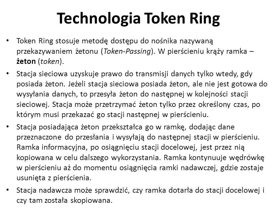 Technologia Token Ring Token Ring stosuje metodę dostępu do nośnika nazywaną przekazywaniem żetonu (Token-Passing). W pierścieniu krąży ramka – żeton