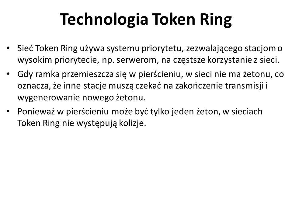 Technologia Token Ring Sieć Token Ring używa systemu priorytetu, zezwalającego stacjom o wysokim priorytecie, np. serwerom, na częstsze korzystanie z