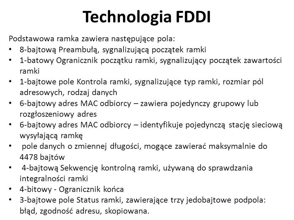 Technologia FDDI Podstawowa ramka zawiera następujące pola: 8-bajtową Preambułą, sygnalizującą początek ramki 1-batowy Ogranicznik początku ramki, sygnalizujący początek zawartości ramki 1-bajtowe pole Kontrola ramki, sygnalizujące typ ramki, rozmiar pól adresowych, rodzaj danych 6-bajtowy adres MAC odbiorcy – zawiera pojedynczy grupowy lub rozgłoszeniowy adres 6-bajtowy adres MAC odbiorcy – identyfikuje pojedynczą stację sieciową wysyłającą ramkę pole danych o zmiennej długości, mogące zawierać maksymalnie do 4478 bajtów 4-bajtową Sekwencję kontrolną ramki, używaną do sprawdzania integralności ramki 4-bitowy - Ogranicznik końca 3-bajtowe pole Status ramki, zawierające trzy jedobajtowe podpola: błąd, zgodność adresu, skopiowana.