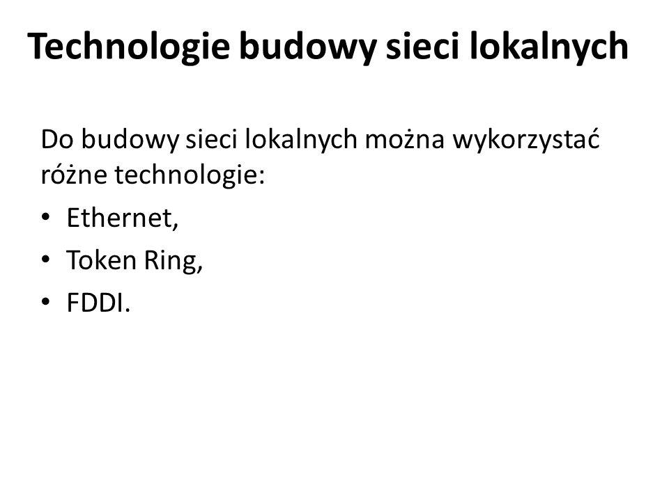 Technologie budowy sieci lokalnych Do budowy sieci lokalnych można wykorzystać różne technologie: Ethernet, Token Ring, FDDI.