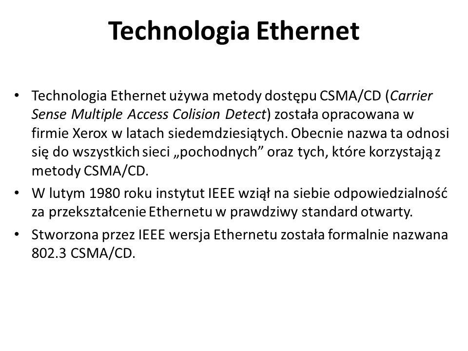 Technologia Ethernet Technologia Ethernet używa metody dostępu CSMA/CD (Carrier Sense Multiple Access Colision Detect) została opracowana w firmie Xer