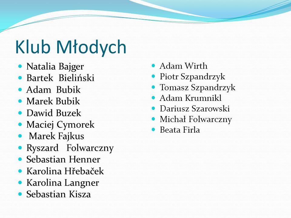 Klub Młodych Natalia Bajger Bartek Bieliński Adam Bubik Marek Bubik Dawid Buzek Maciej Cymorek Marek Fajkus Ryszard Folwarczny Sebastian Henner Karoli